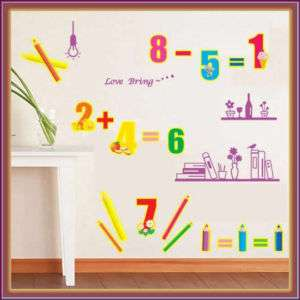 LEARNING ARITHETIC♥REMOVABLE WALL STICKERS DECALS 4KIDS