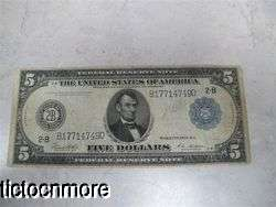 US 1913 $5 FIVE DOLLAR BILL FEDERAL RESERVE NOTE 2 B LARGE NOTE