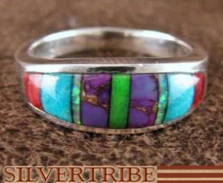 Turquoise And Multicolor Inlay Silver Ring Size 5 1/2