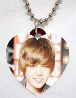 JUSTIN BIEBER Photo Charm Heart Necklace AWESOME