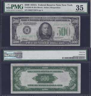1934A $500 FIVE HUNDRED DOLLAR BILL FEDERAL RESERVE NOTE FRN PMG