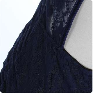 81973 Japan Korean Fashion Style Lace Halter Vest Slim Dress (Navy