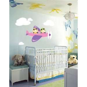 Kids Banner Vinyl Wall Decal Airplane with 2 Kids and Set