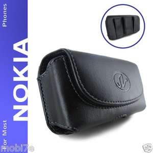 BLACK PREMIUM LEATHER POUCH CASE FOR NOKIA PHONES COVER WITH BELT CLIP