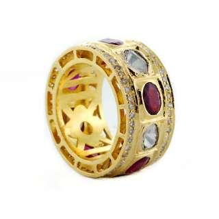 Diamond Ruby 18K Yellow Gold Eternity Band Wedding Ring