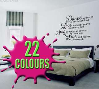 DANCE LOVE SING LIVE Vinyl Decal Wall Art Sticker