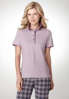 Bobby Jones Womens Fil A Fil Ruffle Collar Polo Shirt