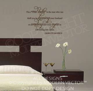 MARILYN MONROE Quote Vinyl Wall Decal THE REAL LOVER