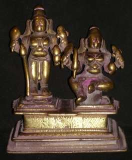 Antique Hindu Traditional Indian Bronze Statue God Shiva And Shakti