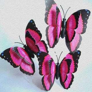 24pc 3D Beautiful hot pink Artificial Butterfly wedding home Favor 7cm