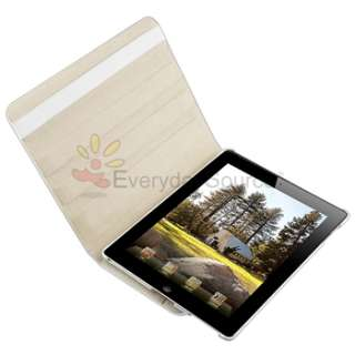 For iPad 2 White Crocodile Magnetic Cover Leather Case 360 Rotating