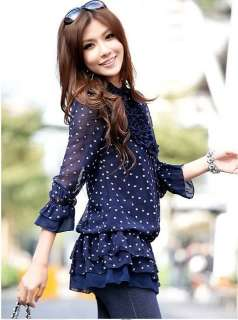Womens New Stylish Casual Polka Dots Chiffon Tops Dress