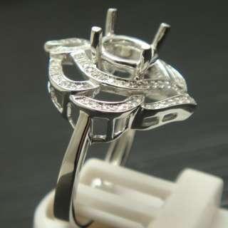 SOLID 14K WHITE GOLD DIAMOND SEMI MOUNT ENGAGEMENT RING Rose shape