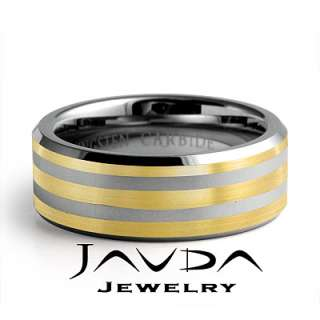 Mens Tungsten Wedding Band Ring 8mm Gold Plated SIze 6