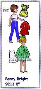 9213  8 Penny Bright Doll wardrobe pattern vintage