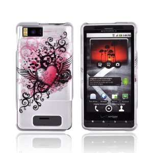 For Motorola Droid X Hard Case PINK WHITE Wing Heart