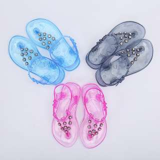 Detailed Jelly Sandals T strap Flat Thong Shoes BOY GIRL