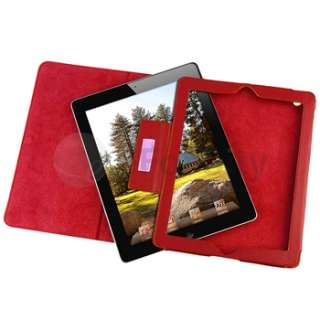For iPad 2 Smart Cover Genuine Leather Stand Case Red