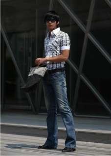 Mens Slim fit Dress Short Sleeve Plaid Shirts A72 M XL