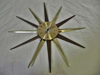 Metal Starburst Clock Gold and Wood AA Battery Powered Works