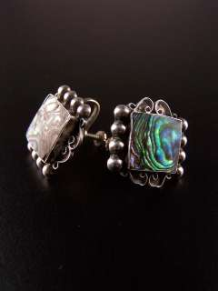 Vintage signed VKE Sterling Iguala Mexico abalone earrings