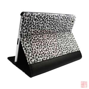 Leopard Leather Case Cover 3 Stand for Apple iPad 2 2nd 3G