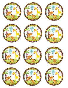 FISHER PRICE ABC BABY SHOWER SAFARI Edible Party Cupcake Image Topper