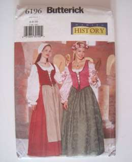 ren faire costume dress patterns Butterick 6196 wench maiden