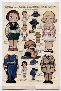 Vintage DOLLY DINGLES WELCOME HOME paper dolls March 1919 WWI