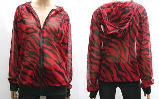 Womens Red Zebra Cool Fishnet Mesh Zip Up Hoody Jacket L / Ladies