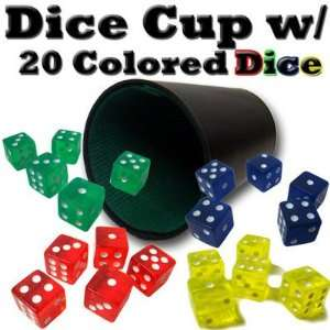 New Plastic Dice Cup W/ 20 Colored Dice Rounded Corners