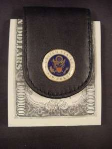 USAF UNITED STATES AIR FORCE LOGO BLACK LEATHER WIDE MAGNETIC MONEY