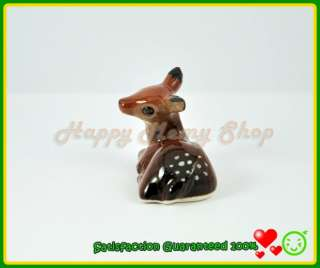 Porcelain​ Figurine Ceramic Animal Statue Cute Brown Deer Sitting