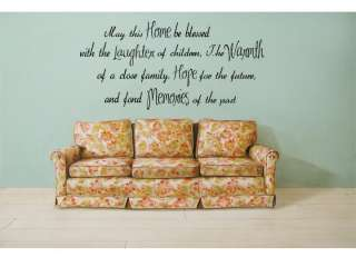 HOME LAUGHTER WARMTH HOPE MEMORIES Wall Quote Lettering Words Decal