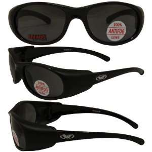 Bond Matte Black Motorcycle Glasses Anti fog Smoke Lenses