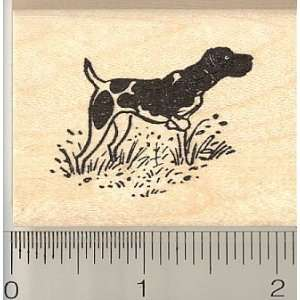 Spotted English Pointer Dog Rubber Stamp   Wood Mounted