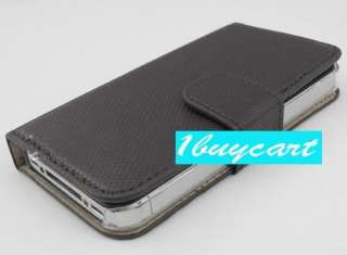 Leather Card Holder Flip Case Cover Pouch For iPhone 4 4S 4G agk