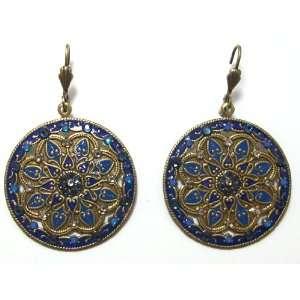 Anne Koplik Designs 22K Gold Plated Enamel Medallion Earrings with