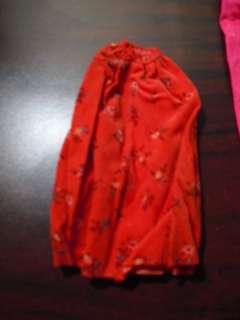 Vintage Barbie Clothes Red Floral Print Dress