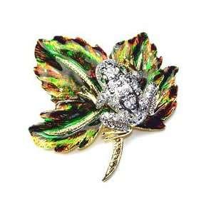 Rhinestone Color Enameled Maple Leaf Gold Tone Frog Pin Brooch