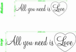 All You Need Is Love   Wall Quote Vinyl Decal Sticker