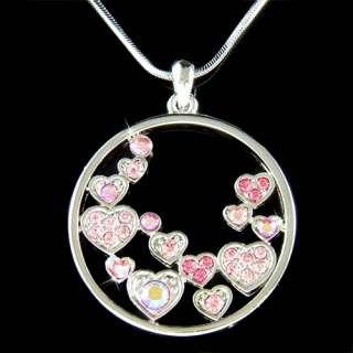 Swarovski Crystal Pink Floating CIRCLE OF LOVE Heart Pendant