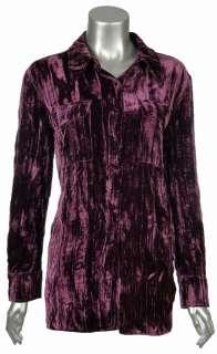 Sutton Studio Womens Crinkle Velvet Safari Button Shirt