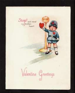 1925 children policeman vintage valentines day card