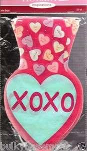 20 Cello Valentines Day XOXO Hearts Party Treat Sacks Bags