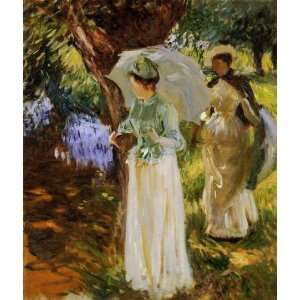 Oil Painting Two Girls with Parasols at Fladbury John