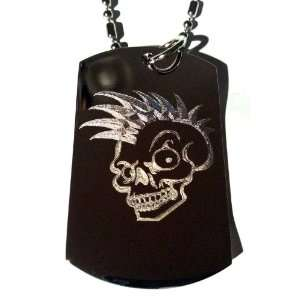 Punk Rocker Mohawk Hair Scary Skull Logo Symbols