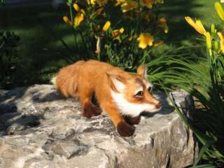 Rare Red Fox Furry Fur Animal Figurine Collectible Ltd