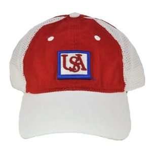 NCAA SOUTH ALABAMA JAGUARS WHITE RED MESH HAT CAP NEW