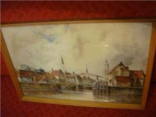 Antique Dutch Harbor W/Colour Painting by Louis van Staaten Signed C
